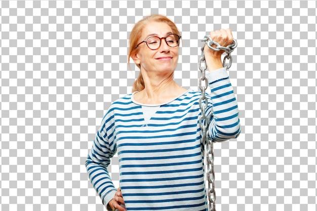 Hogere mooie vrouw met een ketting. vrijheid concept