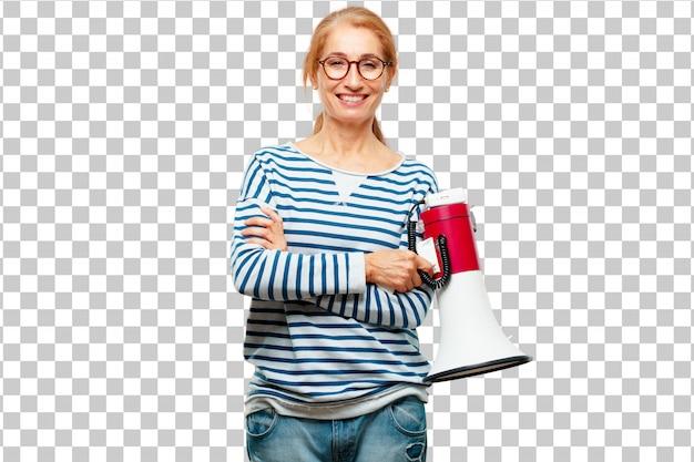 Hogere mooie vrouw met een megafoon