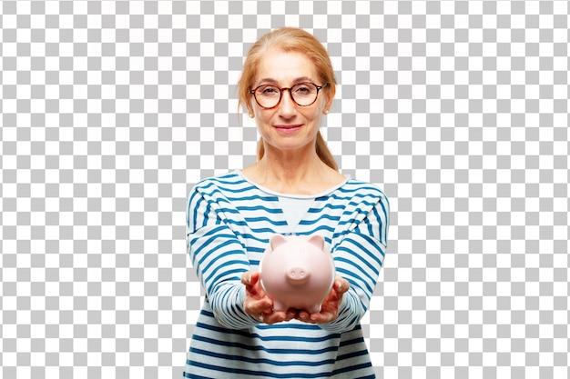 Hogere mooie vrouw met een spaarvarken