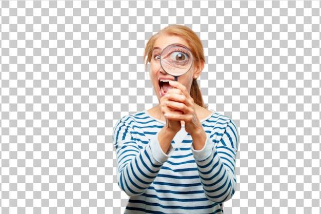 Hogere mooie vrouw met een vergrootglas