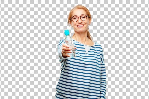 Hogere mooie vrouwenwaterfles