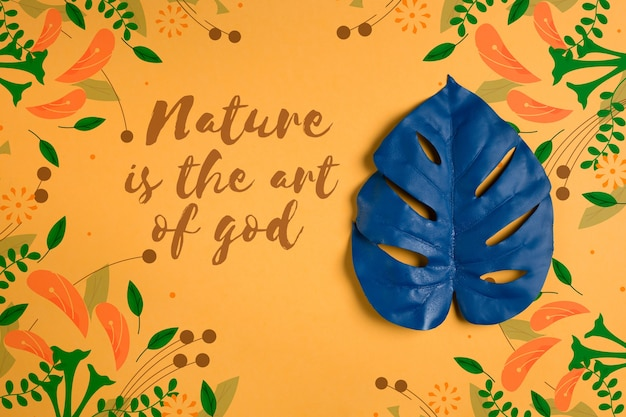 Hoja pintada con mensaje sobre la naturaleza.