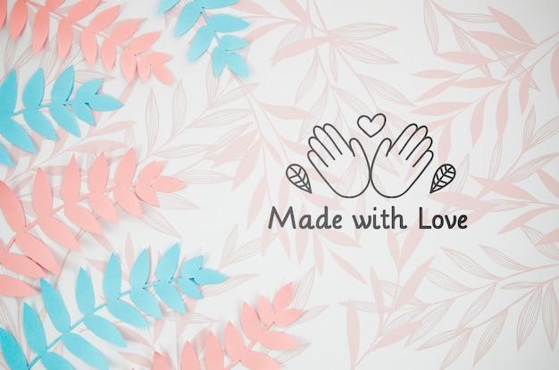 Hojas de helecho hechas con amor fondo hecho a mano