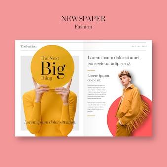 Hojas de moda de periódico con modelo con ropa amarilla
