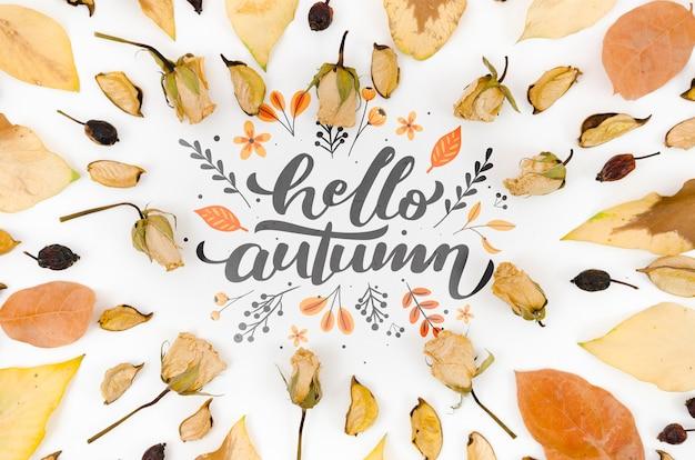 Hojas secas apuntando y rodeando hola otoño
