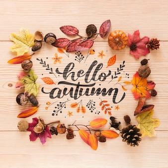 Hola cita de otoño en un marco natural