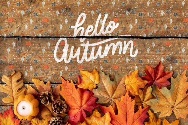 Hola colorido texto otoño con hojas