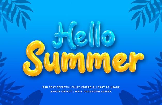 Hola efecto de estilo de texto 3d de verano