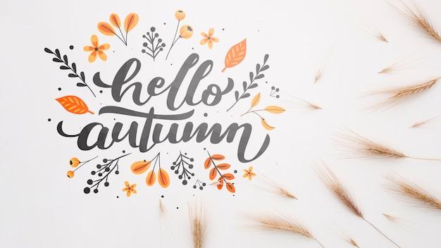Hola otoño al lado de trigo