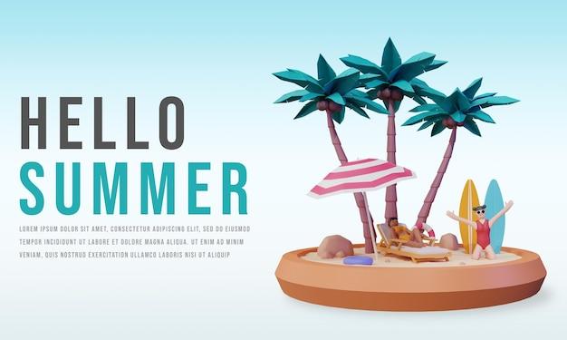 Hola plantilla de banner de verano con personaje de personas 3d