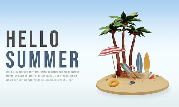 Hola plantilla de banner de verano con personaje de render 3d premium psd