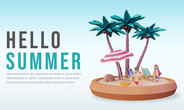 Hola plantilla de banner de verano con personaje de render 3d