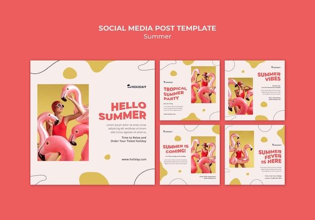 Hola plantilla de publicación de redes sociales de verano