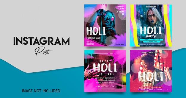 Holi festival instagram post template set