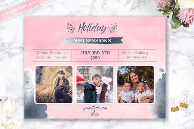 Holiday mini sesión de plantilla de fotografía