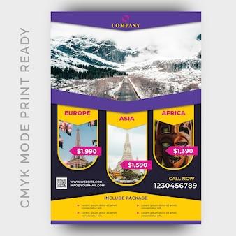 Holiday tour & travel flyer plantilla de diseño