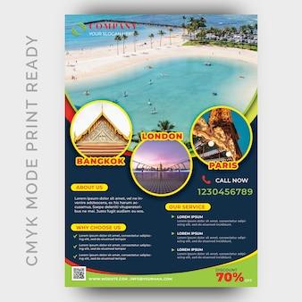 Holiday tour & travel modello di volantino