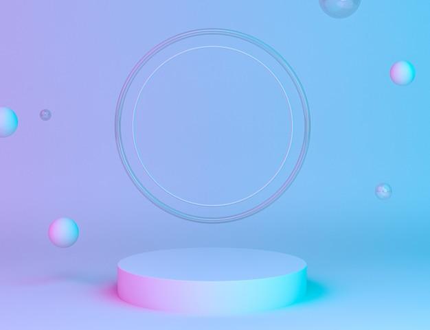 Holografisch 3d geometrisch podium voor productplaatsing met ringenachtergrond en bewerkbare kleur