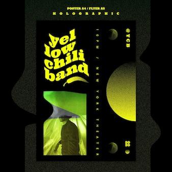 Holografische muziekband poster sjabloon