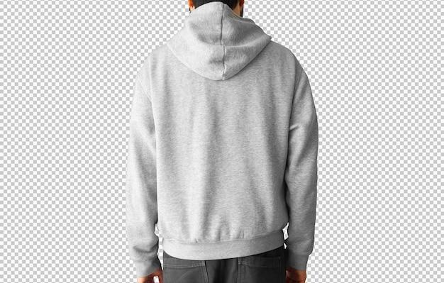 Hombre aislado vistiendo una sudadera con capucha gris atrás