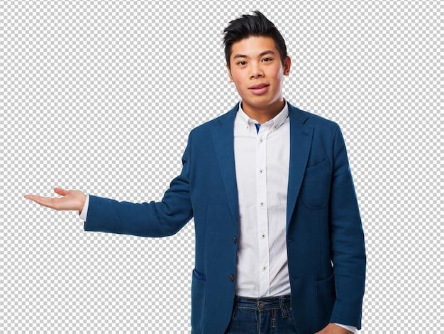 Hombre chino espera gesto