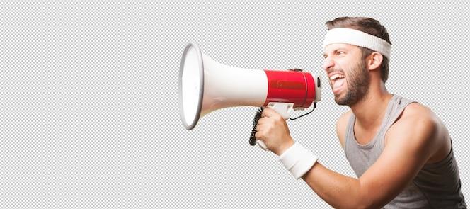 Hombre deportivo con megáfono