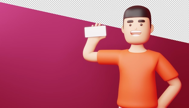 El hombre feliz con la pantalla del teléfono está en blanco, compras en línea, representación 3d.