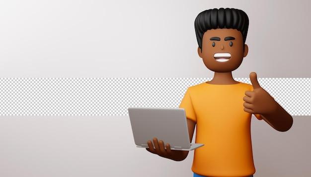 Hombre feliz pulgares arriba con render 3d portátil