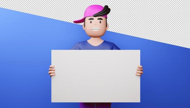 Hombre feliz con renderizado 3d de pantalla en blanco