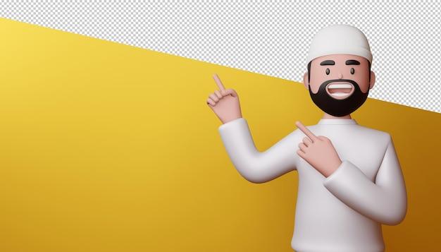 Hombre feliz señalando con el dedo, render 3d