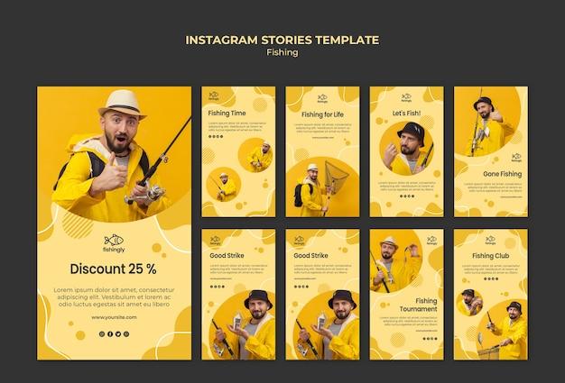 Hombre en historias de instagram de abrigo de pesca amarillo