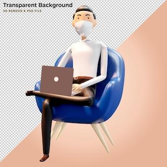 Hombre de ilustración 3d con portátiles trabajando en sillón