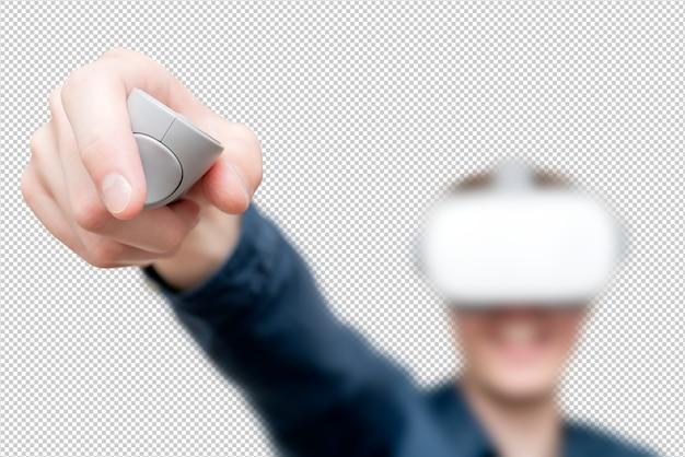 Hombre joven con gafas de realidad virtual. innovación y avances tecnológicos. tecnologías modernas para empresas.