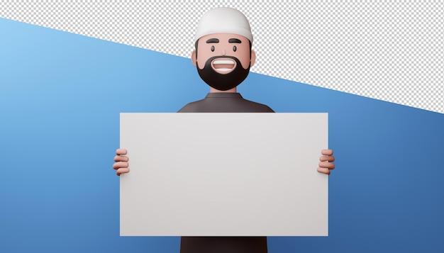 Hombre musulmán feliz con renderizado 3d de pantalla en blanco