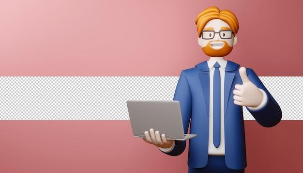 Hombre de negocios feliz pulgar hacia arriba con portátil en 3d rendering