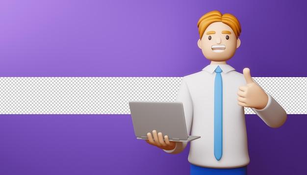 Hombre de negocios feliz pulgares arriba con render 3d portátil