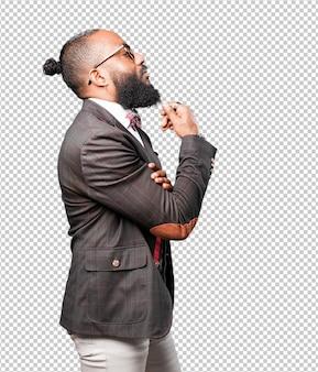 Hombre de negocios negro pensando