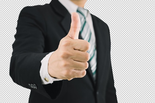 Hombre de negocios pulgar hacia arriba como es excelente psd