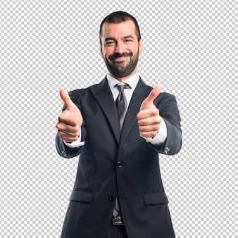 Hombre de negocios, con, pulgar arriba