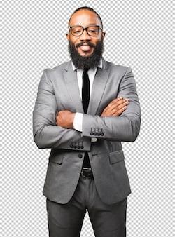 Hombre negro de negocios sonriendo