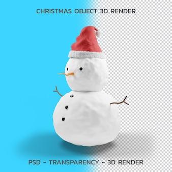 Hombre de nieve, objeto de navidad 3d render