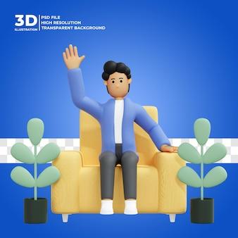 Hombre sentado en una silla saluda a freelancer gente triste ilustración 3d psd premium