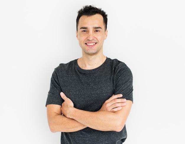 Hombre sonriendo felicidad retrato concepto