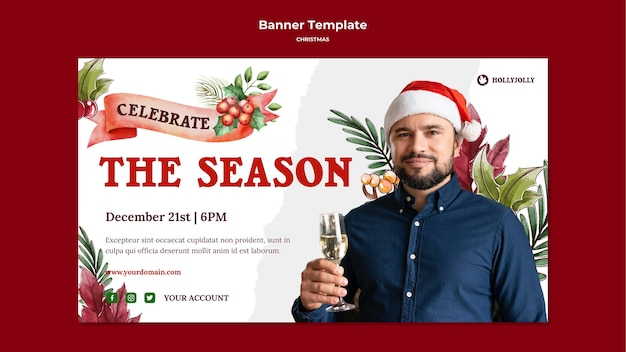 Hombre de temporada navideña con plantilla de banner de sombrero de santa