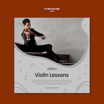 Hombre tocando violín lecciones volante cuadrado