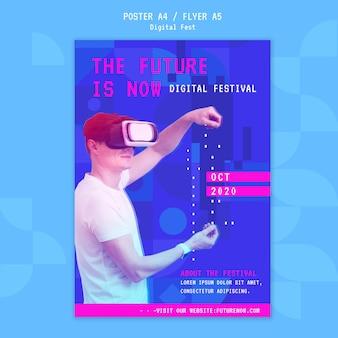Hombre usando una plantilla de póster de casco de realidad virtual