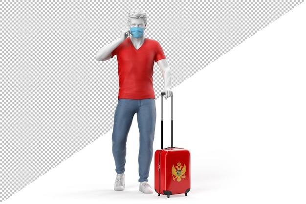Hombre vestido con mascarilla tira de una maleta con textura con la bandera de montenegro. representación 3d