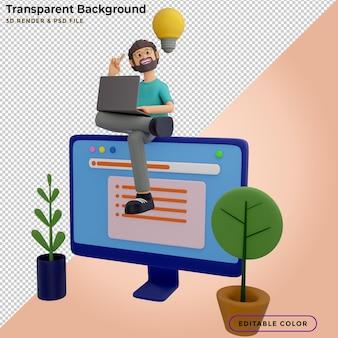 Hombres de ilustración 3d con computadoras portátiles, sentados en sillones y creando nuevas ideas de innovación. página de destino