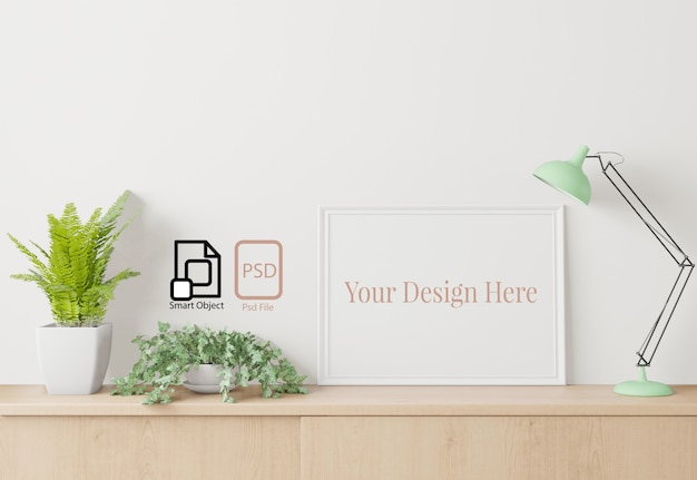 Home interieur poster mock up met frame op het dressoir en witte muur achtergrond.