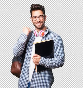 Homem estudante, segurando um livro